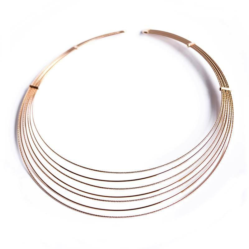 multi string gold choker