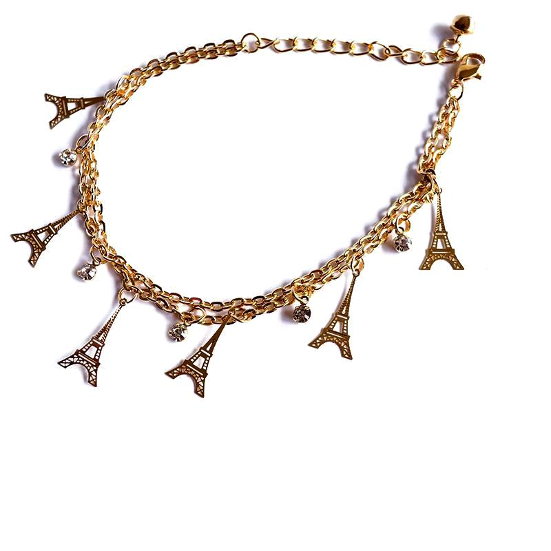 Eiffel Tower charm anklet
