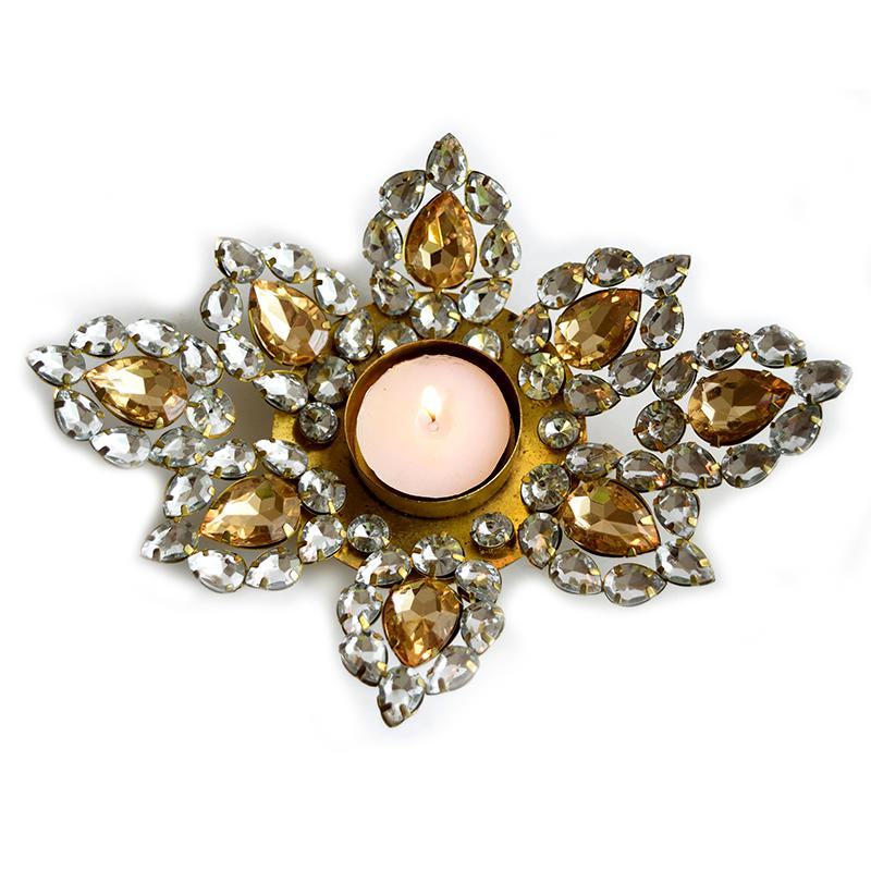 Flower crystal tealight holder
