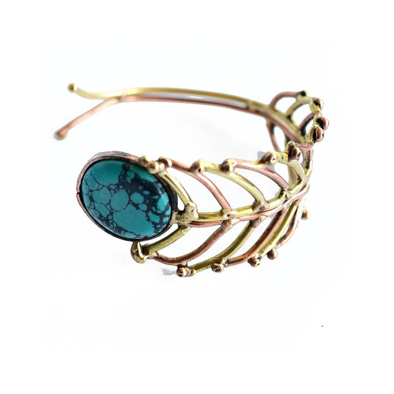 rose gold fern adjustable bangle