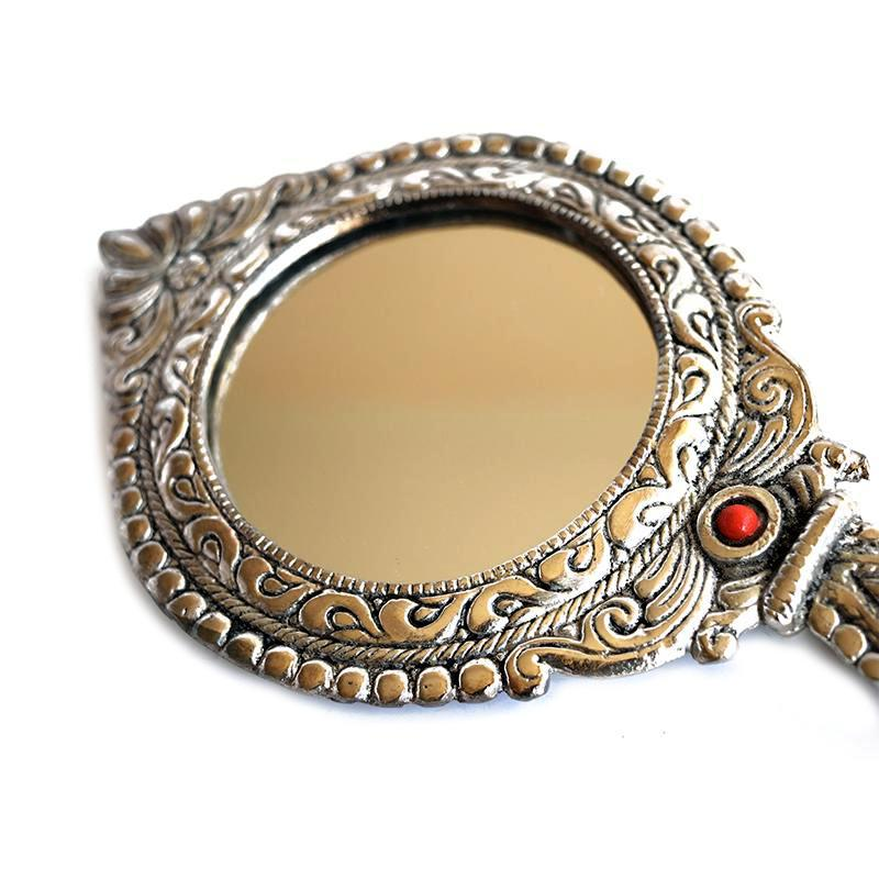 Antique Silver Mirror Closeup