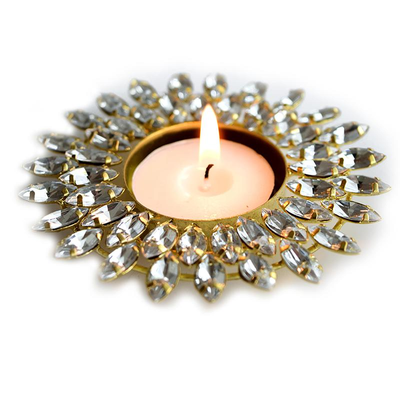 Silver crystal tealight holder