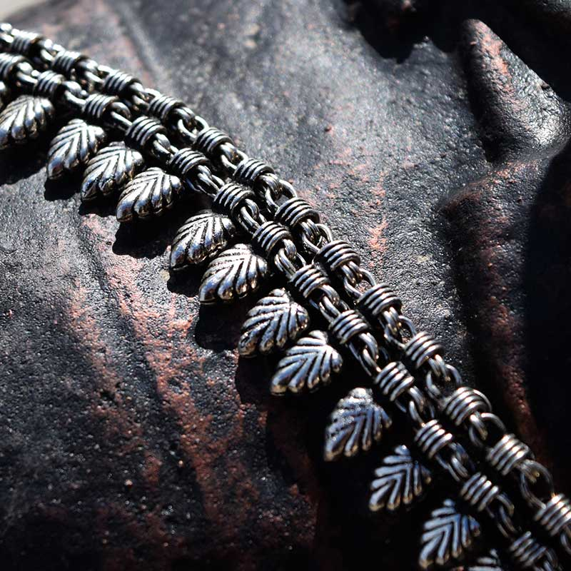 silver fern boho necklace cloesup