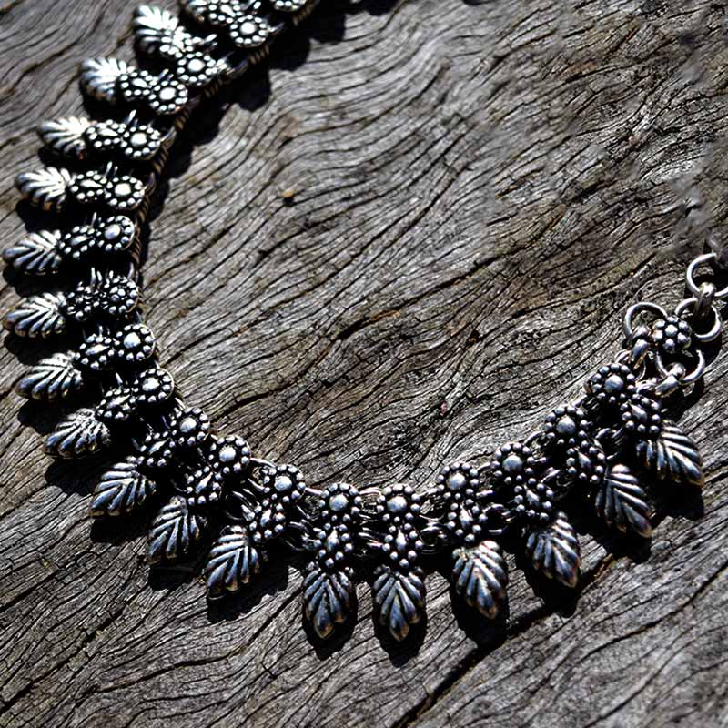 silver fern boho necklace