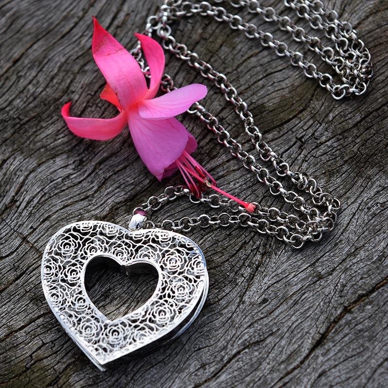 Silver Heart Crystal Necklace