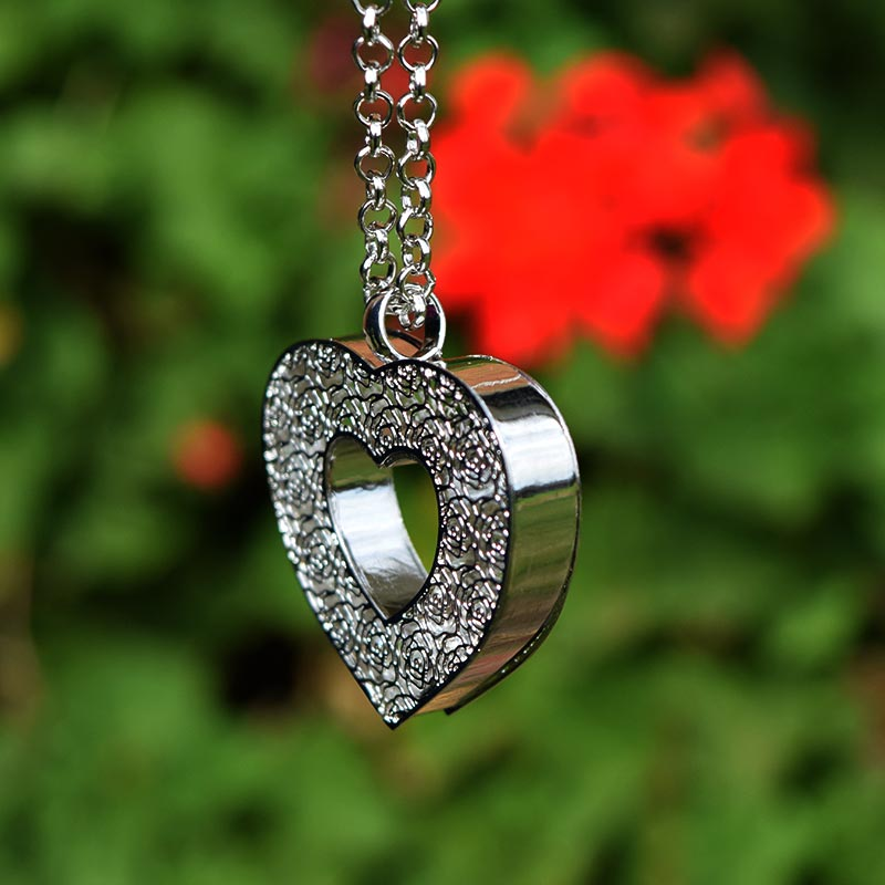 silver heart crystal necklace closeup