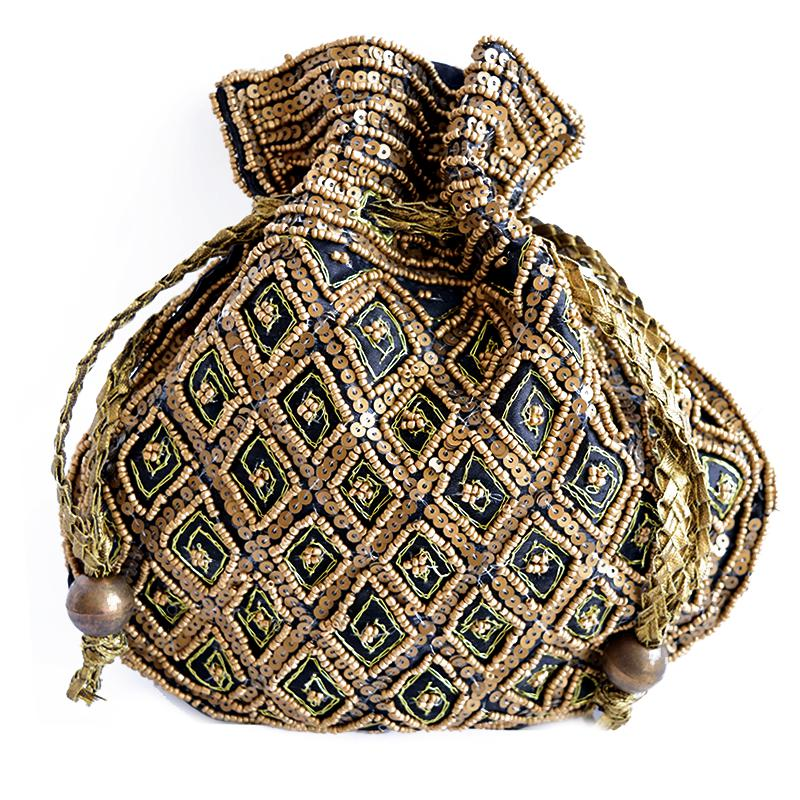 ethnic black jewellery pouch