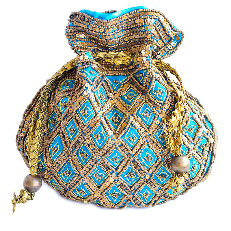 ethnic blue jewellery pouch