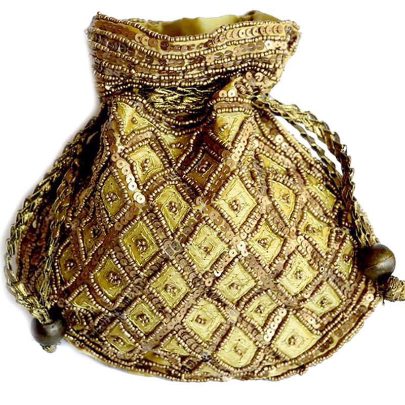 Ethnic gold jewellery pouch
