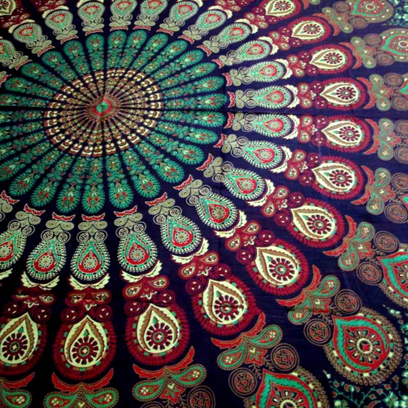 Green Mandala throw Closeup