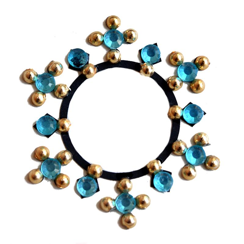 Turquoise gold belly crystal bindi