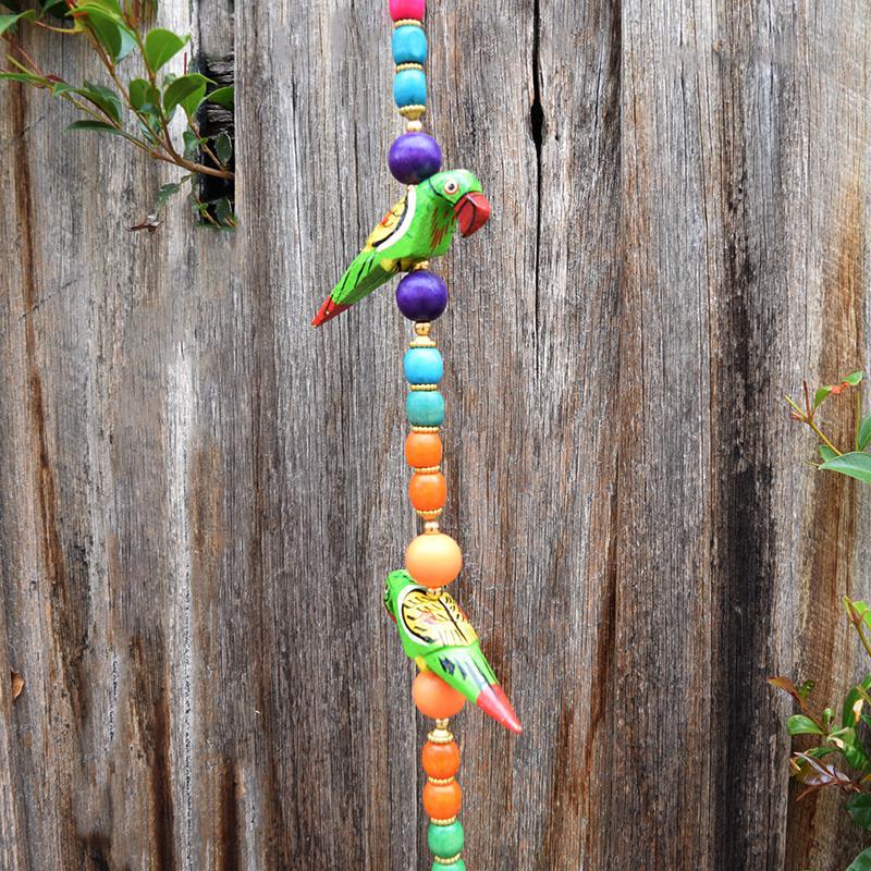 wooden Birds hanging closeup