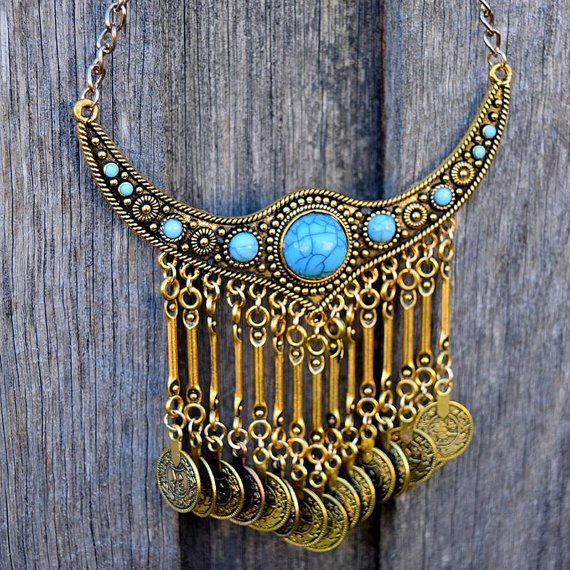 Boho Coin Turquoise Necklace